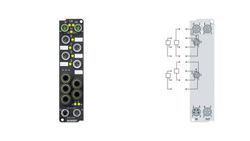 EP3744-1041   Druckmessbox, 6 digitale Eingänge 24VDC, 2digitale Ausgänge 24VDC, 0,5A, 4Druckeingänge 0…7bar