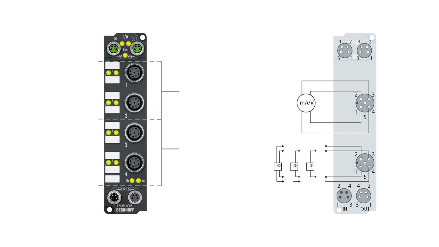 EP4374-0002 | EtherCAT Box, 2-channel analog input + 2-channel analog output, multi-function, ±10V, 0/4…20mA, 16bit, differential, M12