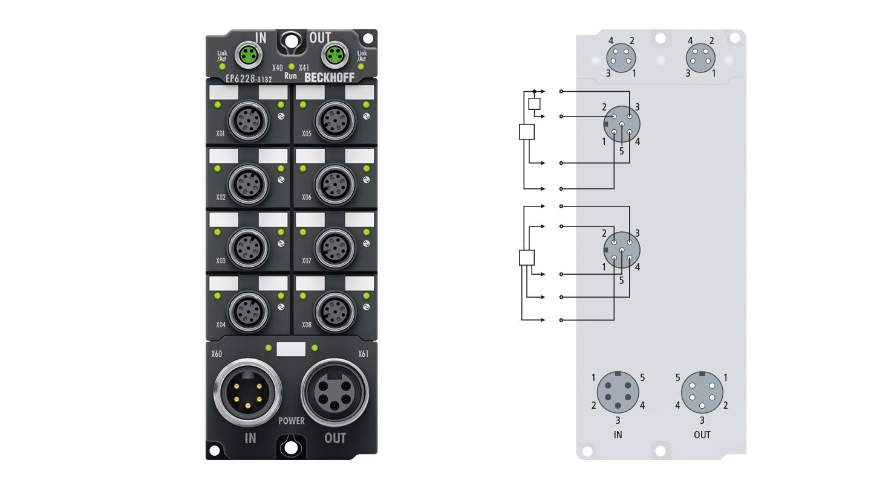 EP6228-3132   8-channel IO-Link master, 4 x Class A, 4 x Class B, 4 x digital input