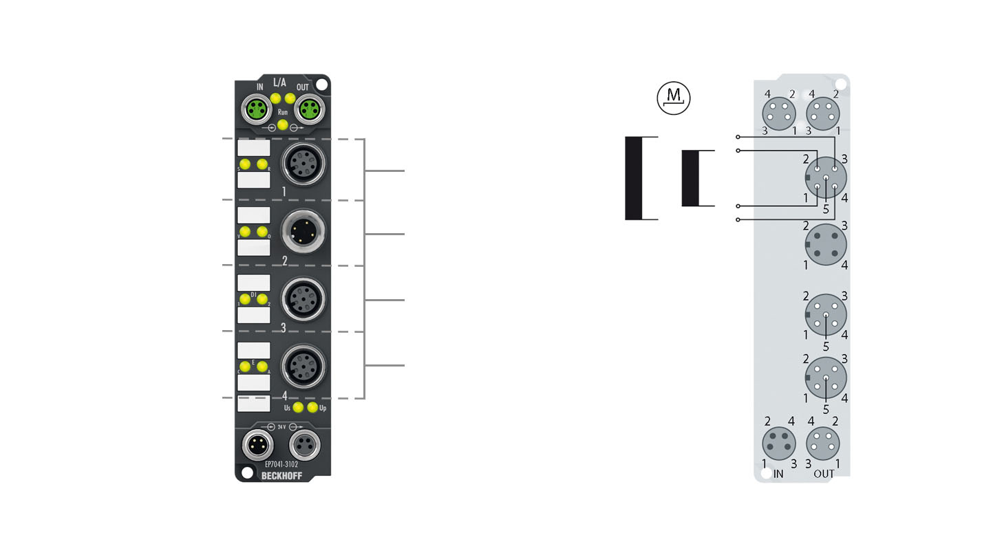 EP7041-3102 | Stepper motor module 48 V DC, 5 A, with incremental encoder, for high-speed applications