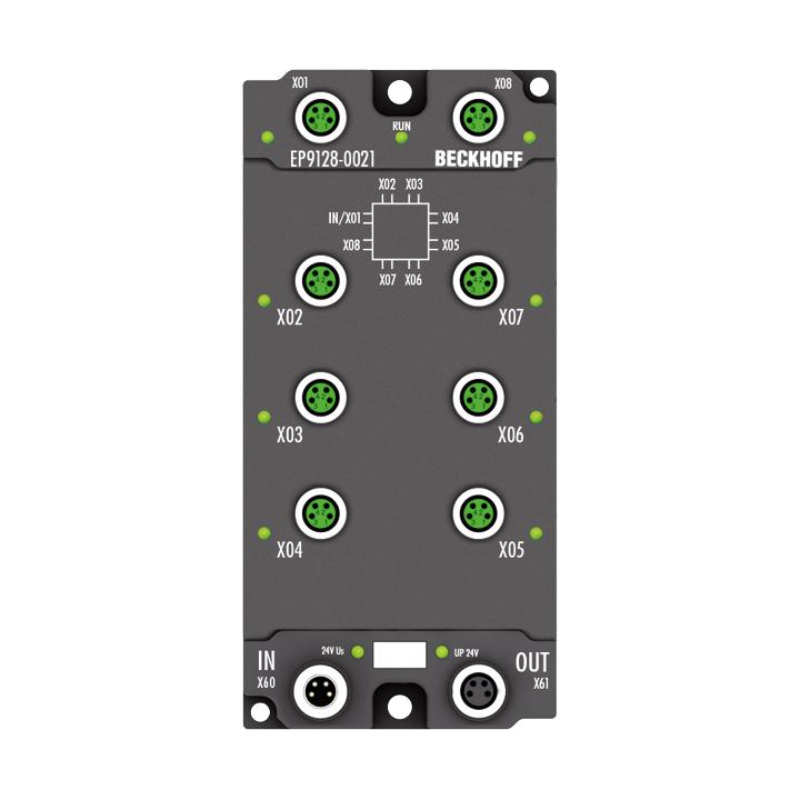 EP9128-0021 | EtherCAT Box, 8-port junction, EtherCAT, 100Mbit/s, 24VDC, M8