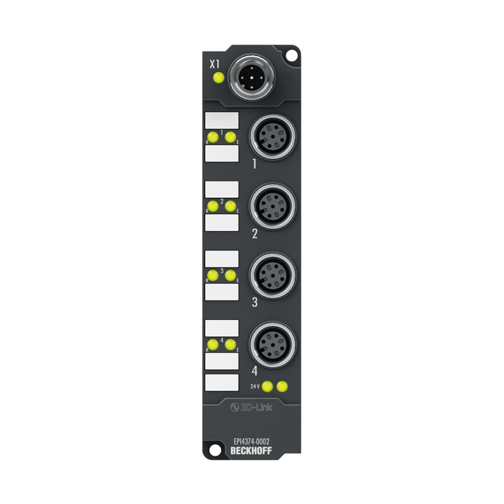 EPI4374-0002 | IO-Link box, 2-channel analog input + 2-channel analog output, multi-function, ±10V, 0/4…20mA, 16bit, differential, M12