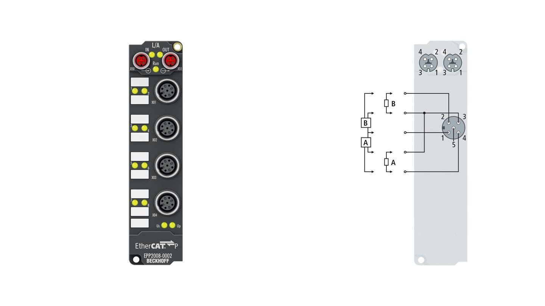 EPP2008-0002 | EtherCAT P Box, 8-channel digital output, 24VDC, 0.5A, M12