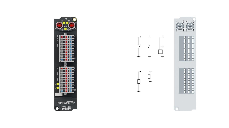 EPP2316-0003 | 8 x digital input + 8 x digital output 24VDC, Imax = 0.5 A