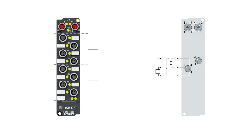 EPP2318-0001 | EtherCAT P Box, 4-channel digital input + 4-channel digital output, 24VDC, 10µs, 0.5A, M8