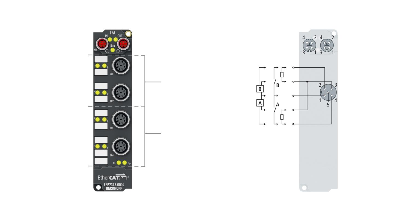 EPP2318-0002 | 4 x digital input + 4 x digital output 24 V DC, Imax = 0.5 A, 10 µs