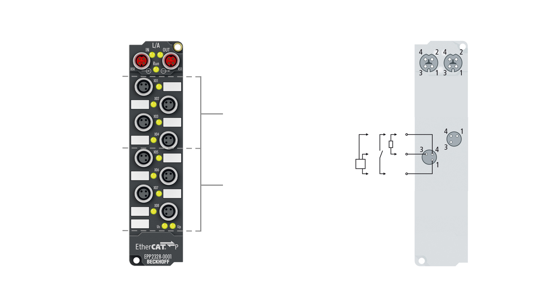 EPP2328-0001   4 x digital input and 4 x digital output 24VDC, Imax=2A (∑3A)