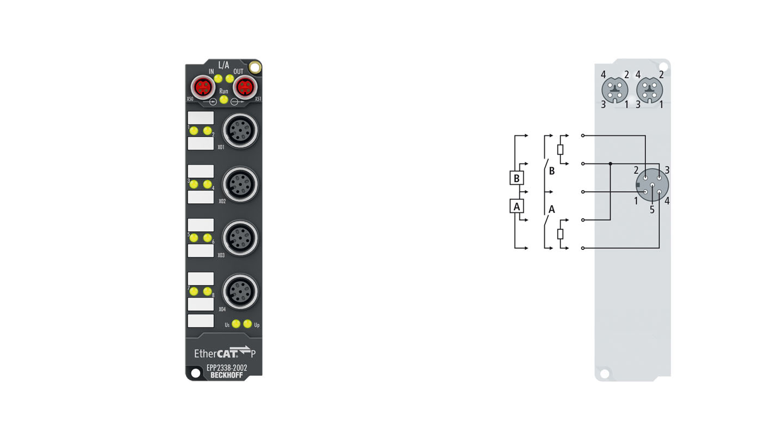 EPP2338-2002 | EtherCAT P Box, 8-channel digital combi, 24VDC, 10µs, 0.5A, M12