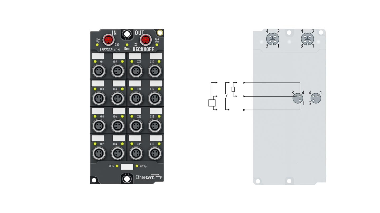 EPP2339-0021 | 16-channel digital input or output 24 V DC