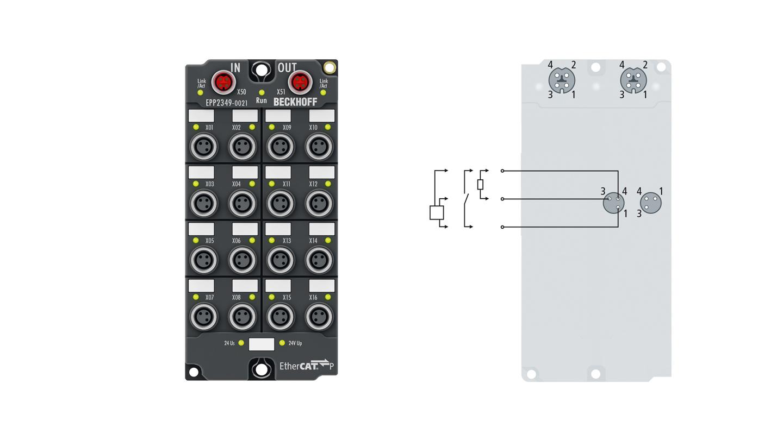 EPP2349-0021 | 16-channel digital input or output 24 V DC, filter 10 µs
