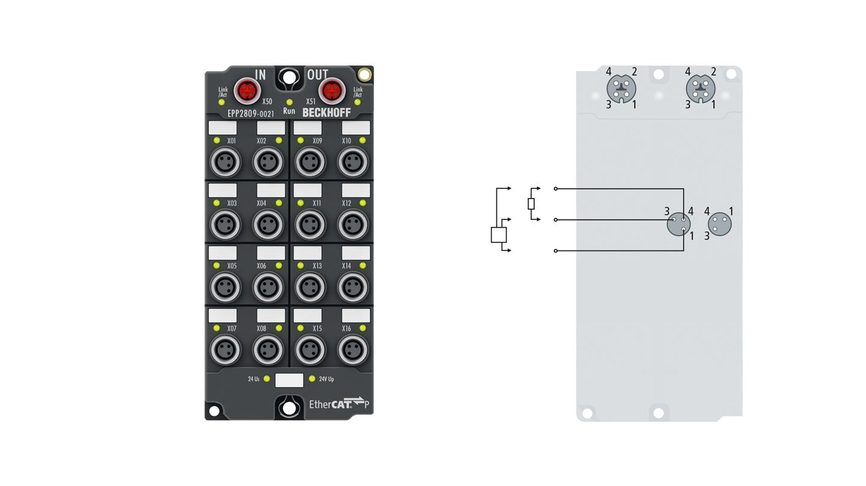 EPP2809-0021 | 16-Kanal-Digital-Ausgang 24 V DC, Imax = 0,5 A (∑ 3A)