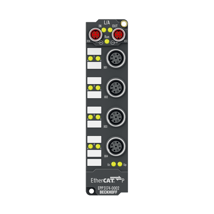 EPP3174-0002 | EtherCAT P Box, 4-channel analog input, multi-function, ±10V, 0/4…20mA, 16bit, differential, M12