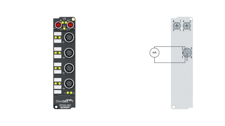 EPP3184-0002 | 4-Kanal-Analog-Eingang ±10V oder 0/4…20mA, parametrierbar, single-ended, 16Bit