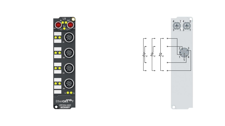 EPP3204-0002 | EtherCAT P Box, 4-channel analog input, temperature, RTD (Pt100), 16bit, M12