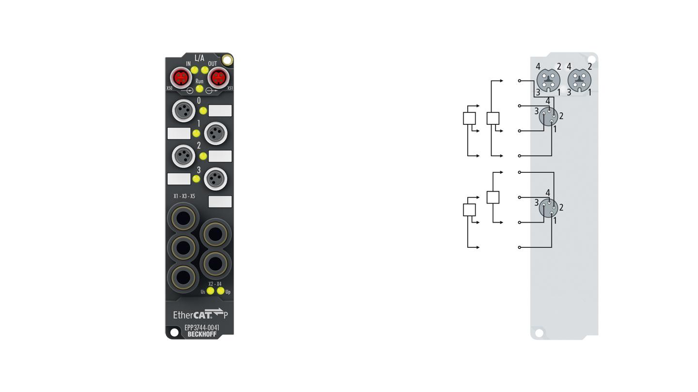 EPP3744-0041 | EtherCAT P Box, 4-channel analog input + 8-channel digital combi, pressure, 0…1000hPa (0…+1bar), M8
