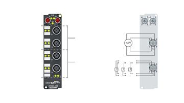 EPP4374-0002 | 2-Kanal-Analog-Eingang + 2-Kanal-Analog-Ausgang ±10 V oder 0/4…20mA, parametrierbar, 16 Bit