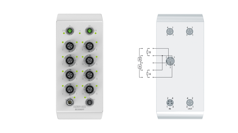EQ2809-0022 | 16-Kanal-Digital-Ausgang 24 V DC, Imax = 0,5 A (∑ 4 A)