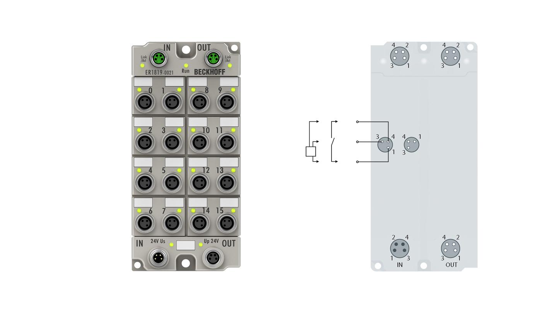 ER1819-0021 | EtherCAT Box, 16-channel digital input, 24VDC, 10µs, M8, zinc die-cast