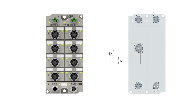 ER2008-0022 | EtherCAT Box, 8-channel digital output, 24VDC, 0.5A, M12, zinc die-cast