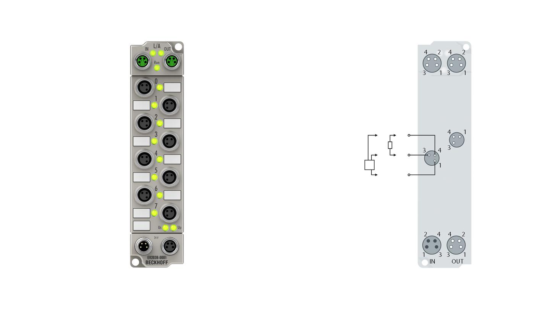 ER2038-0001   EtherCAT Box, 8-channel digital output, 24VDC, 2A, M8, with diagnostics, zinc die-cast