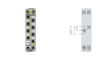 ER2308-0001   EtherCAT Box, 4-channel digital input + 4-channel digital output, 24VDC, 3ms, 0.5A, M8, zinc die-cast