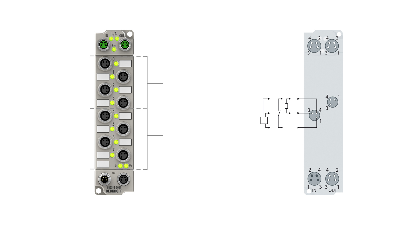 ER2318-0001 | EtherCAT Box, 4-channel digital input + 4-channel digital output, 24VDC, 10µs, 0.5A, M8, zinc die-cast
