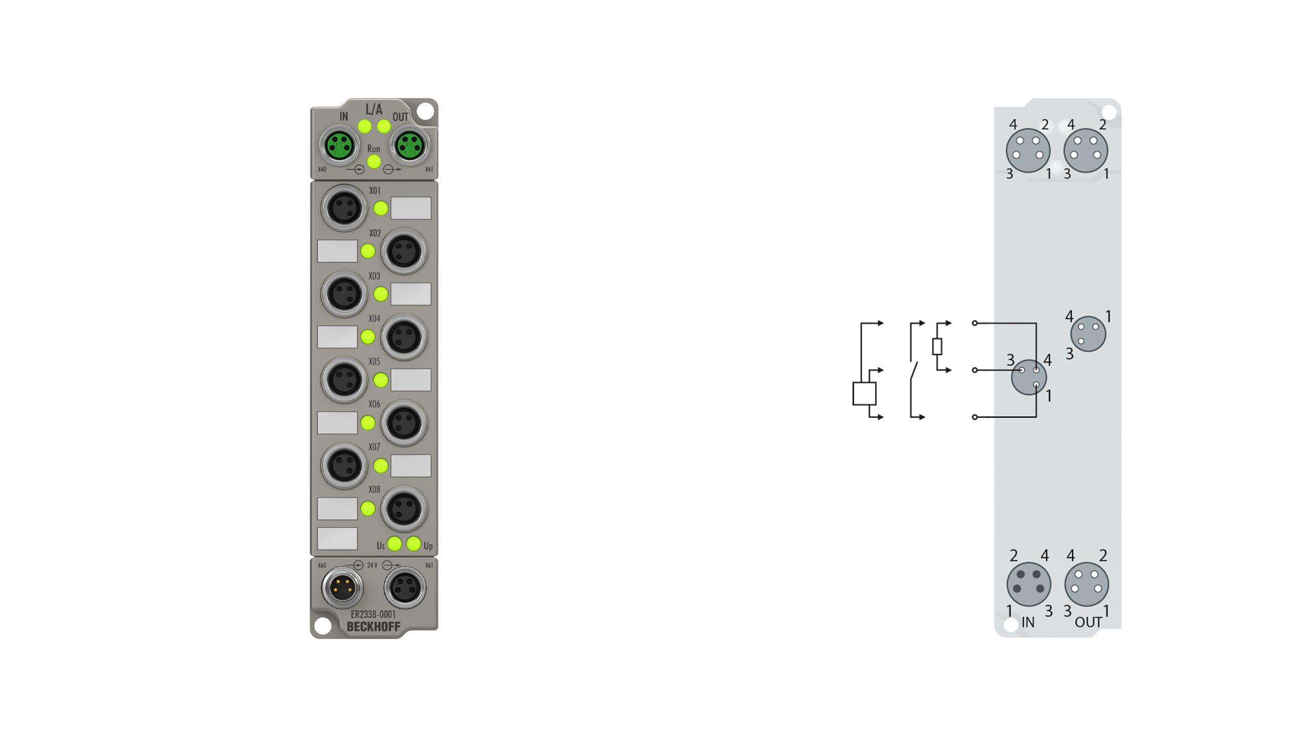 ER2338-1001 | 8-channel digital input or output 24 V DC, freely configurable