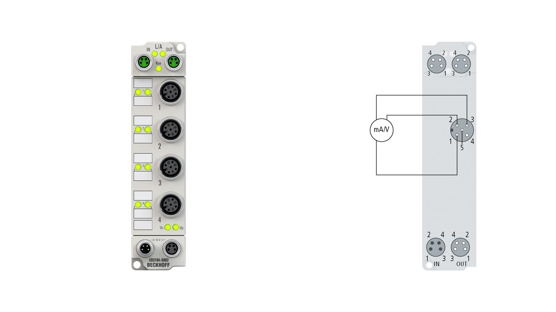 ER3184-0002 | EtherCAT Box, 4-channel analog input, multi-function, ±10V, 0/4…20mA, 16bit, single-ended, M12, zinc die-cast