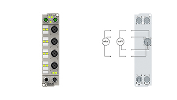 ER3184-1002 | EtherCAT Box, 4-channel analog input, multi-function, ±10V, 0/4…20mA, 16bit, single-ended, M12, zinc die-cast