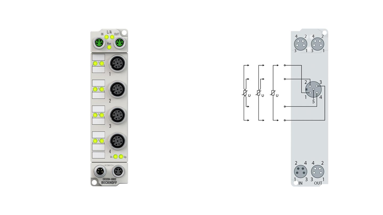 ER3204-0002 | EtherCAT Box, 4-channel analog input, temperature, RTD (Pt100), 16bit, M12, zinc die-cast