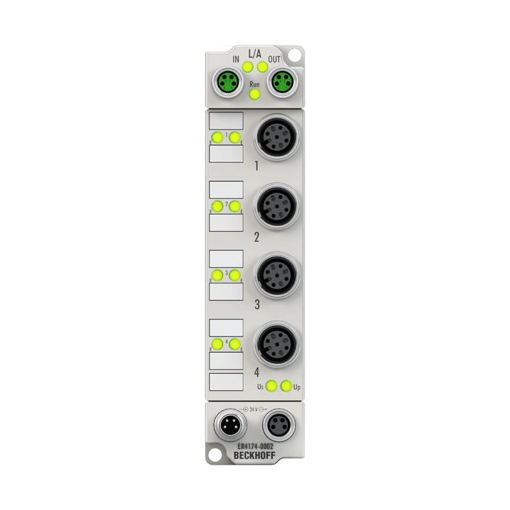ER4174-0002 | EtherCAT Box, 4-channel analog output, multi-function, ±10V, 0/4…20mA, 16bit, differential, M12, zinc die-cast