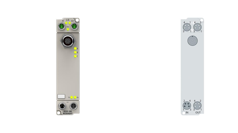ER5101-1002   EtherCAT Box, 1-channel encoder interface, incremental, 5VDC (DIFFRS422,TTL), 1MHz, M12, sensor supply 24VDC, zinc die-cast