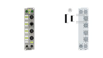 ER7041-2002 | EtherCAT Box, 1-channel motion interface, stepper motor, 48VDC, 5A, M12, with incremental encoder, zinc die-cast