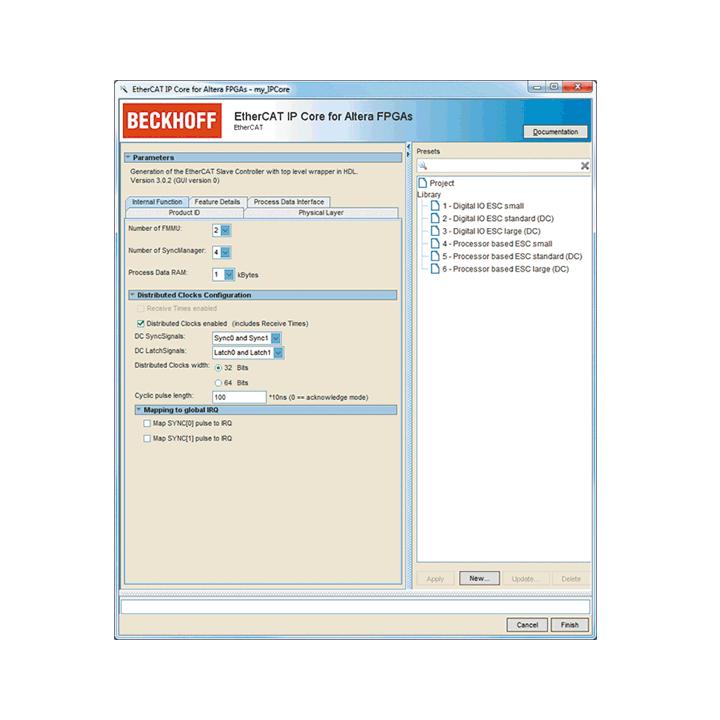 ET1810, ET1811 | EtherCAT IP core for Intel® FPGAs