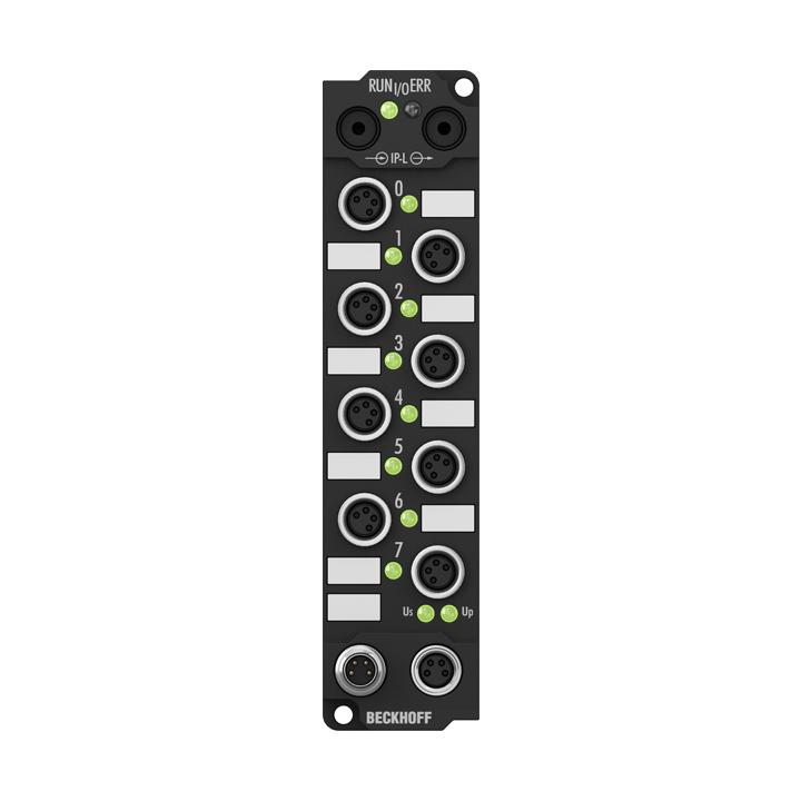 IE2401 | Extension Box, 8-channel digital input + 8-channel digital output, 24VDC, 3ms, 0.5A, M8