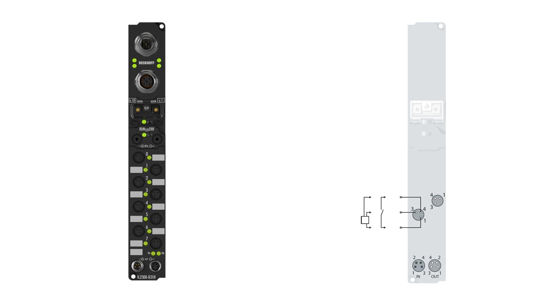 IL2300-Bxxx   Coupler Box, 4-channel digital input + 4-channel digital output, 24VDC, 3ms, 0.5A, Ø8