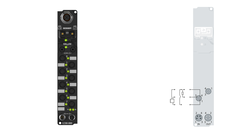 IL2300-B800 | Coupler Box, 4-channel digital input + 4-channel digital output, RS485, 24VDC, 3ms, 0.5A, Ø8
