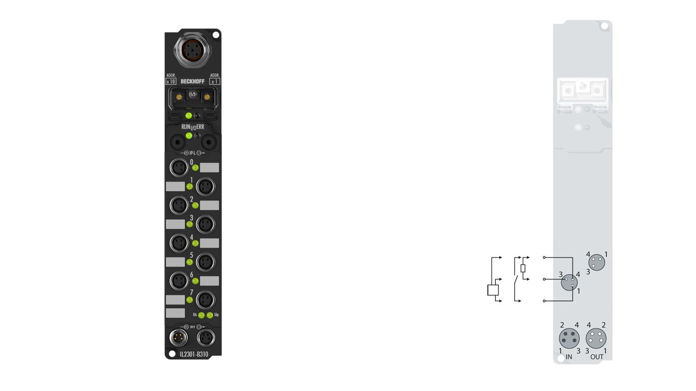 IL2301-B310 | Coupler Box, 4-channel digital input + 4-channel digital output, PROFIBUS, 24VDC, 3ms, 0.5A, M8