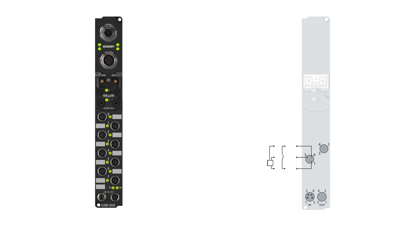 IL2301-Bxxx | Koppler Box, 4 x Digital-Eingang + 4 x Digital-Ausgang 24 V DC, 3,0ms, Imax=0,5A, M8