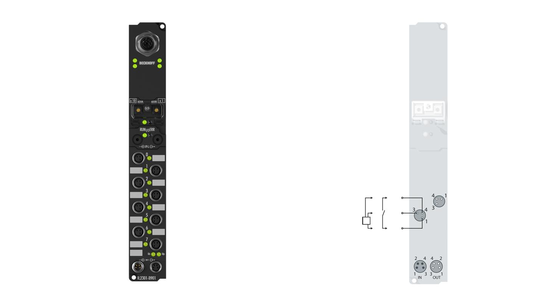 IL2301-B901 | Coupler Box, 4-channel digital input + 4-channel digital output, Ethernet, 24VDC, 3ms, 0.5A, M8