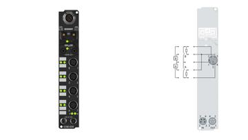IL2302-B310 | Coupler Box, 4-channel digital input + 4-channel digital output, PROFIBUS, 24VDC, 3ms, 0.5A, M12