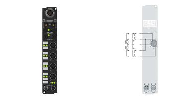 IL2302-B800 | Coupler Box, 4-channel digital input + 4-channel digital output, RS485, 24VDC, 3ms, 0.5A, M12
