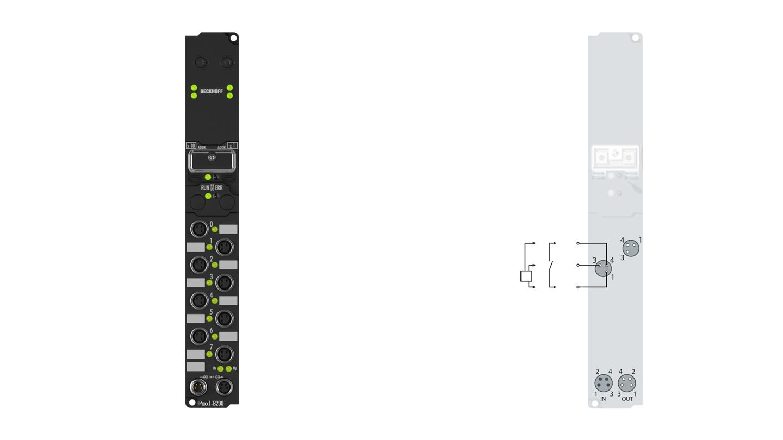 IP1011-B200 | Fieldbus Box, 8-channel digital input, Lightbus, 24VDC, 0.2ms, M8