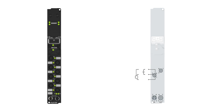 IP2020-B200 | Fieldbus Box, 8-channel digital output, Lightbus, 24VDC, 2A, Ø8