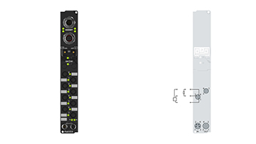 IP2020-B518 | Fieldbus Box, 8-channel digital output, CANopen, 24VDC, 2A, Ø8, integrated T-connector