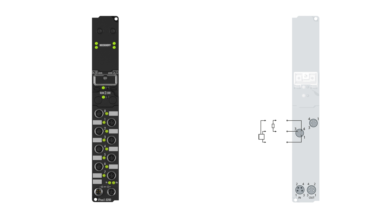 IP2021-B200 | Fieldbus Box, 8-channel digital output, Lightbus, 24VDC, 2A, M8