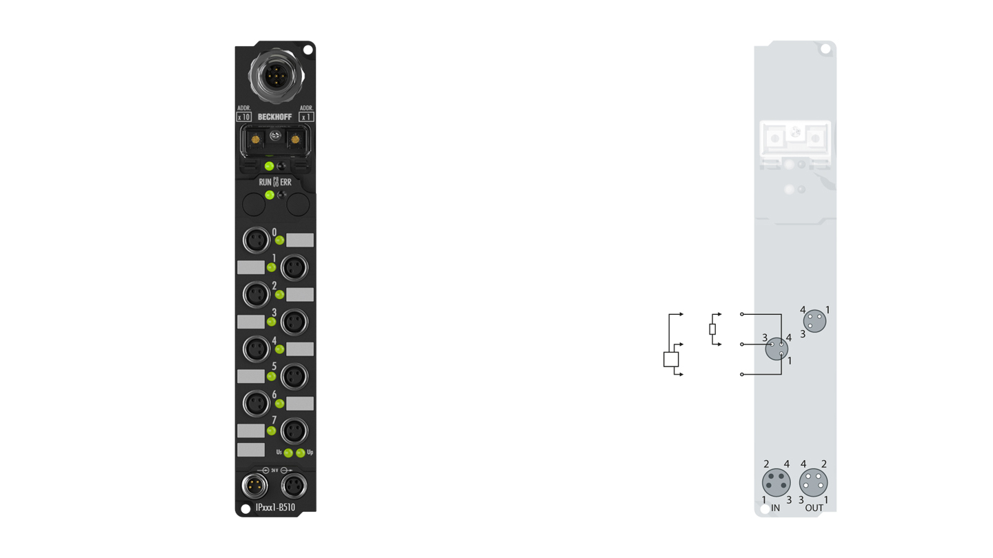 IP2001-B510 | Fieldbus Box, 8-channel digital output, CANopen, 24VDC, 0.5A, M8