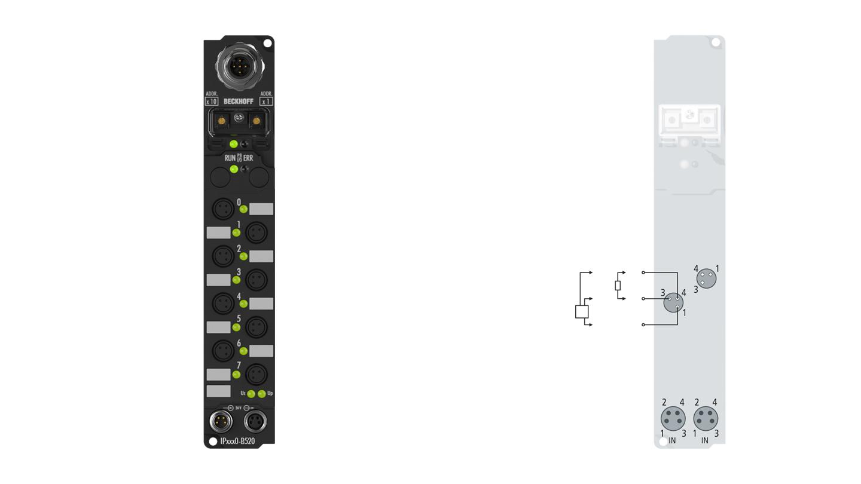 IP2040-B520 | Fieldbus Box, 8-channel digital output, DeviceNet, 24VDC, 2A (∑12A), Ø8