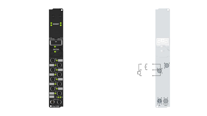 IP2041-B200 | Fieldbus Box, 8-channel digital output, Lightbus, 24VDC, 2A (∑12A), M8