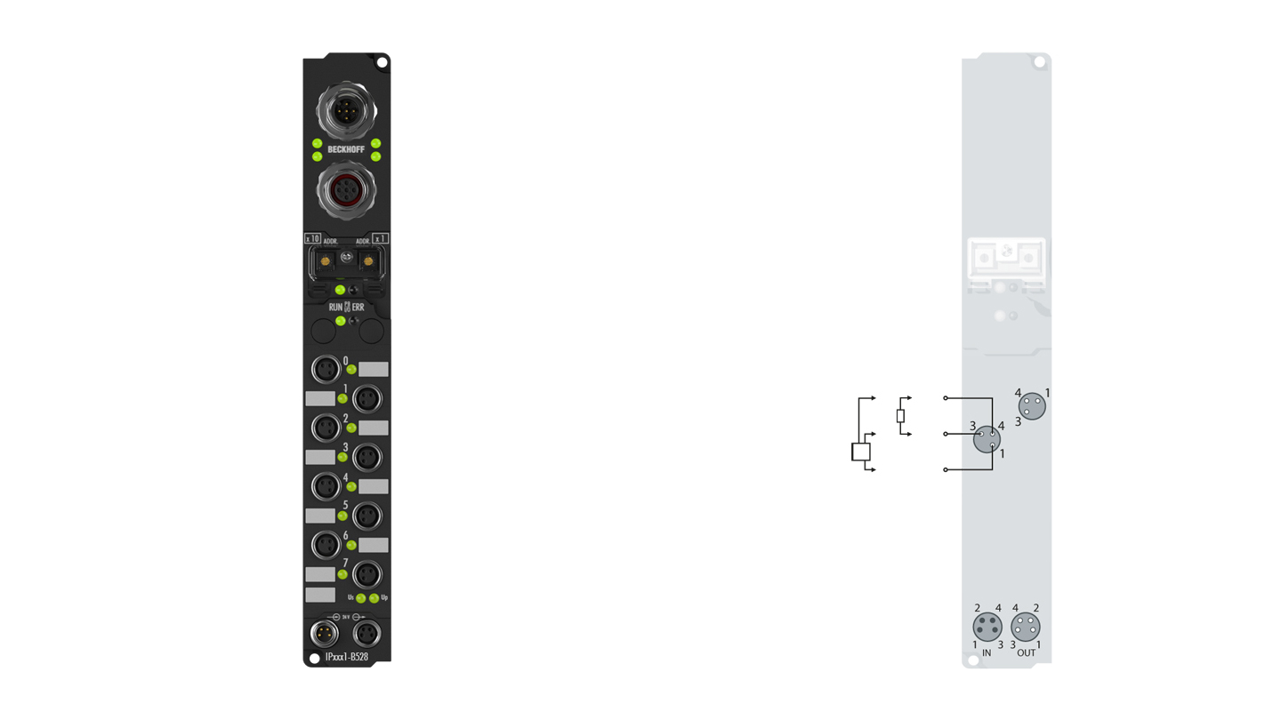 IP2041-B528 | Fieldbus Box, 8-channel digital output, DeviceNet, 24VDC, 2A (∑12A), M8, integrated T-connector